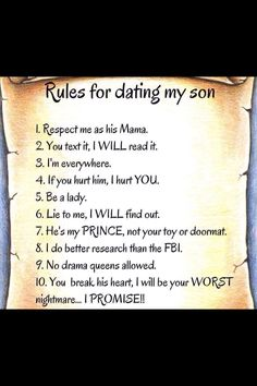Rules for dating my son