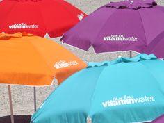 Beach Media - Vitamin Water branded beach umbrellas. #BeachMedia #VitaminWater #umbrellas
