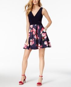 Xscape Solid & Floral-Print Fit & Flare Dress - Blue 8
