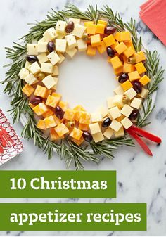 10 Christmas Appetizers — Planning the Christmas dinner menu? Start the festivities deliciously with a great selection of tasty Christmas appetizers. A Christmas cheese wreath! Christmas Dinner Menu, Christmas Entertaining, Christmas Party Food, Xmas Food, Christmas Appetizers, Christmas Cooking, Christmas Goodies, Christmas Cheese, Xmas Party
