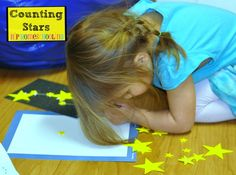 Patterning, creating constellations and learning about shapes with some foam cutouts and constellation cards!