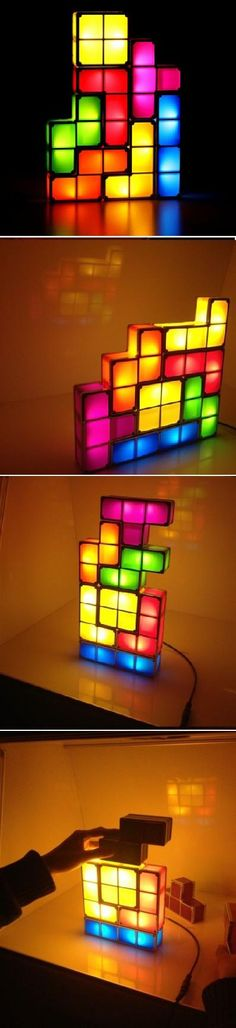 If you are a Tetris fan, then this light was made for you!  The Tetris Constructible Light is an interlocking light that comes with 7 interlocking shaped pieces. The shapes can be stacked in endless possible combinations giving you a new lamp every day! Once the blue block is plugged in and illuminated, other blocks can be added and as soon as others come into contact with one already illuminated, they will light up as well. Multiple sets mean bigger and better color combos!