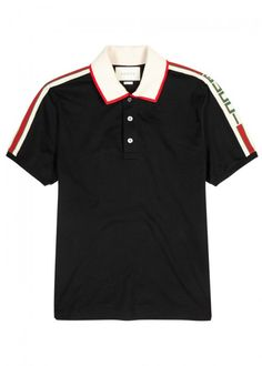 GUCCI Striped-Trim Stretch Piqué Cotton Polo Shirt in Black