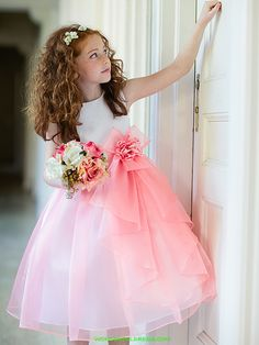 Coral Satin Bodice with Organza Ruffle Skirt Girl Dress