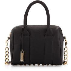 Urban Originals Stevie Studded Satchel Bag ($45) ❤ liked on Polyvore featuring bags, handbags, black, black studded satchel, top zip satchel, black chain purse, black handbags and chain handbags