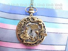 SALE 1PCS -Pocket Watch locket Necklace with Alice in Wonderland - Girl cat rabbit teapot Rattan Garden necklace ,fashion pendant