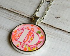 Monogram Necklace Southern Preppy Bridesmaid Gift Graduation Gifts Women Georgia Peaches