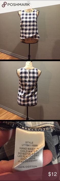 Navy Blue and White Checkered Blouse 1/4 zip in back. Cute and a little sheer. No stretch Tops Blouses