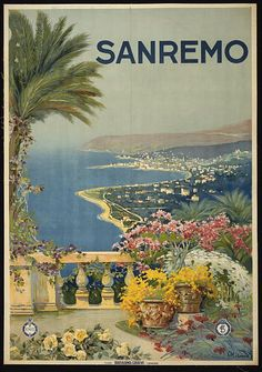 classic posters, graphic design, italian poster, retro prints, travel, travel posters, vintage, vintage posters, Sanremo - Vintage Italy Tra...