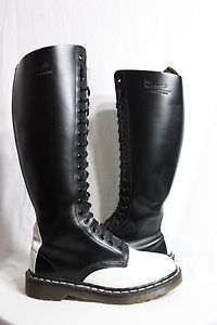 Vintage Womens 2 Tone DR MARTENS 20 Eye Tall Leather Boots England UK 5