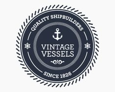 This logo uses the old stamp style very well.  I like the blue it uses too. It reminds of naval things and all things associated with that.