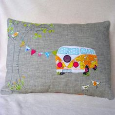 Campervan Cushion Cover Home is wherever you want it to be in this sweet retro camper-van. Perfect to decorate your home from home this linen cushion is backed with striped canvas, appliquéd in bright coloured cotton fabrics and free machine embroi. Applique Cushions, Cute Cushions, Sewing Pillows, Fabric Crafts, Sewing Crafts, Sewing Projects, Free Motion Embroidery, Machine Embroidery, Cushion Pads
