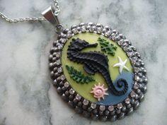 Black Seahorse Cameo Necklace, Seahorse Cameo with Sea Life, Antiqued Silver, Rhinestones, Pendant Necklace