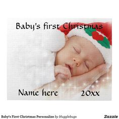 Baby's First Christmas Personalize Jigsaw Puzzle