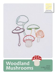 Woodland Mushrooms modern hand embroidery by KFNeedleworkDesign