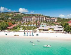 Best honeymoon resort: Sandals Grande Antigua Resort & Spa, Antigua  For fuss-free romance, Sandals Antigua is it. It's been voted most romantic resort for 14 years in a row, and as it's all-inclusive, you turn up (and if you're anything like me, a frazzled mess from the wedding day) and everything is taken care of for you. The sea is a clear, pale turquoise, and the white sandy beach makes it seem like paradise.