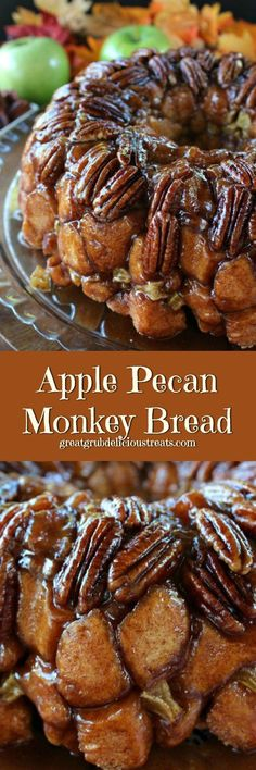 Apple Pecan Monkey Bread is a perfect fall dessert loaded with delicious pecans, apples and cinnamon. Apple Pecan Monkey Bread is a perfect fall dessert loaded with delicious pecans, apples and cinnamon. Pecan Recipes, Apple Recipes, Fall Recipes, Holiday Recipes, Cooking Recipes, Bread Recipes, Köstliche Desserts, Delicious Desserts, Dessert Recipes