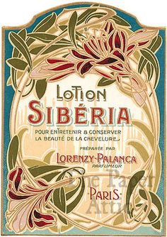Antique French Art Nouveau Paris Perfume Lotion Label Siberia by Lorenzy Palanca | eBay