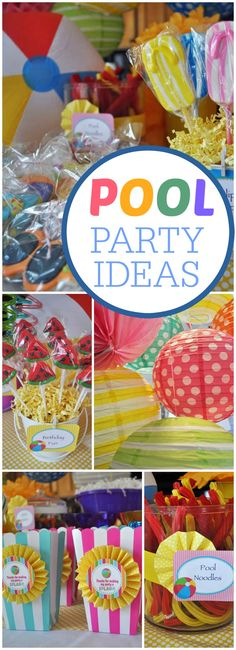 This fun pool birthday party has lots of flip flops and beach balls! See more party ideas at CatchMyParty.com!