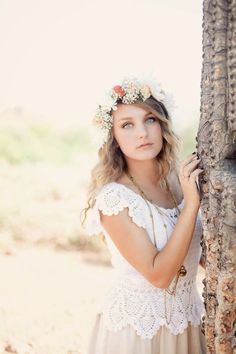 Love the baby's breath in this bridal hair flower wreath!