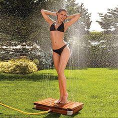 Teak Step-On Shower
