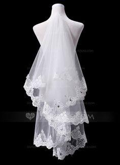 Wedding Veils - $26.99 - One-tier Fingertip Bridal Veils With Lace Applique Edge (006031078) http://jjshouse.com/One-Tier-Fingertip-Bridal-Veils-With-Lace-Applique-Edge-006031078-g31078