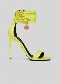 Versace Sandals, Women's Shoes Sandals, Leather Sandals, Versace Fashion, Fashion Heels, Cuir Nappa, Sneaker Heels, Sandals For Sale, Calf Leather
