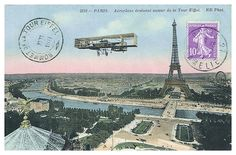 Antique 1911 colorized postcard titled 'Airplane revolving around the Eiffel tower', vintage postcard,antique postcard,eiffel tower,paris,collectible ephemera,french monument,france,parisienne,Parisian,aviation,colorized,postal,biplane