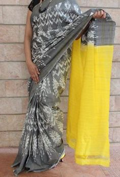 Exquisite Ash Grey with Banana Yellow Handwoven Pure Pochampally Ikkat Saree - NEW