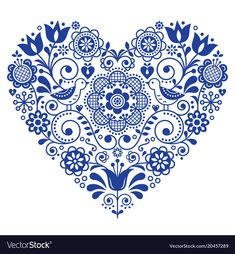 Scandinavian folk heart vector design, Valentine's Day, birthday or wedding greeting card, floral pattern in navy blue. Retro background with flowers inspired by Swedish and Norwegian traditional emb Scandinavian Embroidery, Scandinavian Folk Art, Design Vector, Vector Art, Heart Vector, Retro Background, Custom Stamps, Heart Art, Indian Art