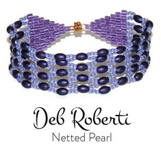 Netted Pearl_17 Purple Line, Neon Purple, Beading Needles, Beading Tutorials, Bracelet Patterns, Pearl Bracelet, Round Beads, Seed Beads, Crochet Necklace