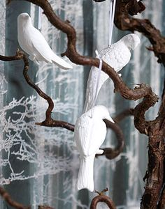 white porcelain birds - Christmas