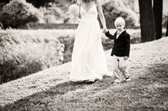 Son walking Mom down the aisle! So sweet! Paper roses bouquet by Morgann Hill Designs