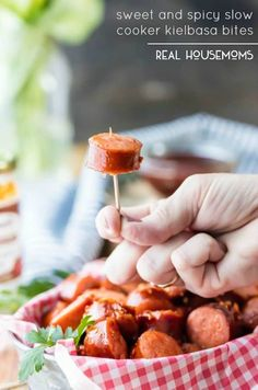 Sweet and Spicy Slow Cooker Kielbasa Bites - #barbecue-sauce #bbq-sauce #best-crock-pot-recipes #game-day #honey #kielbasa #pepper-jelly #slow-cooker #appetizers-2 #best-crock-pot-appetizers #recipes #realhousemoms Kielbasa Appetizer, Appetizer Recipes, Party Appetizers, Party Snacks, Slow Cooker Recipes, Crockpot Recipes, Cooking Recipes, Brats Recipes, Egg Recipes