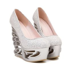 Boutique Bastone Stylish Womens Wedge Shoe with Sequins and Round Toe Design *** Click on the image for additional details.