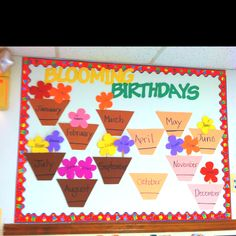 Ideas For Birthday Board Classroom Toddler Spring Preschool Birthday Board, Birthday Chart Classroom, Birthday Wall, Birthday Charts, Classroom Board, Classroom Fun, Classroom Birthday Displays, Flower Birthday, Future Classroom