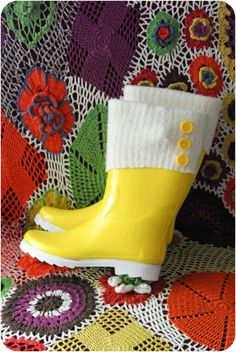 Rubber Boot Makeover | DIY using old sweater sleeve and buttons.