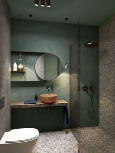 a creative small bathroom with a green wall, terrazzo flooring and wall, a wooden floating vanity and a coral bowl sink You are in the right place about rectangular bathroom mirror H Bathroom Design Luxury, Bathroom Design Small, Bath Design, Bathroom Designs, Luxury Bathrooms, Small Bathrooms, Small Bathroom Interior, Bathrooms Decor, Decorating Bathrooms