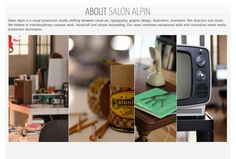 http://www.salonalpin.net/about/ for an about section, although many pages are very text heavy, using very concise information and using a selection of images in a row, creates a nice personal feel to it.