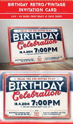 Birthday Retro/Vintage Invitation Card — Photoshop PSD #greeting #celebration • Available here → https://graphicriver.net/item/birthday-retrovintage-invitation-card/7553560?ref=pxcr