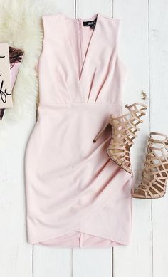 It's time to slip into the Cocktail Hour Blush Pink Wrap Dress and order your favorite thing to sip on! Sleeveless bodice has a subtle surplice neckline and pleating above a fitted skirt with wrap detail, in a medium-weight knit fabric.  #lovelulus