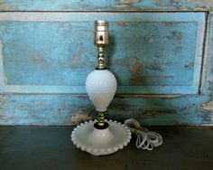 Milk Glass Table Lamp Vintage Mid Century by turquoiserollerset, $20.00