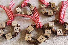 Scrabble Tile Grape Vine Wreath--for grandma. Scrabble Letter Crafts, Scrabble Ornaments, Scrabble Tile Crafts, Scrabble Art, Wood Crafts, Scrabble Coasters, Christmas Ornament Crafts, Christmas Projects, Handmade Christmas