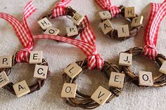 Scrabble Tile Grape Vine Wreath--for grandma. Scrabble Letter Crafts, Scrabble Ornaments, Scrabble Tile Crafts, Scrabble Art, Wood Crafts, Christmas Ornament Crafts, Christmas Projects, Handmade Christmas, Holiday Crafts