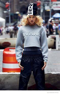 Adriana Cernanova Sports Alexander Wang x H&M for Elle Czech by Branislav Simoncik