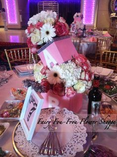 Baby shower, blocks with pearls and zebra prints, flowers. -Fairy Fou Frou