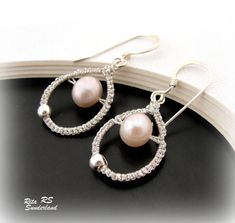 Dressed up Macrame. Sterling Silver With Macrame And Lilac Pearl Earrings   RitaSunderland.com