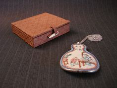 Large Oriental Painted Pottery Shard Pendant, with Gift Box [Vintage] by MaGriffeBoutique on Etsy