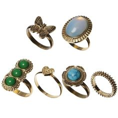 ASOS Butterfly & Stone Ring Multipack (€6,64) ❤ liked on Polyvore featuring jewelry, rings, accessories, gold, butterfly ring, butterfly jewelry, stone jewellery, asos jewelry and asos