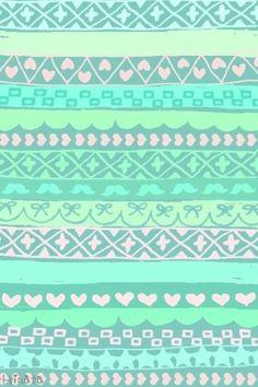 Mint green tribal print wallpaper